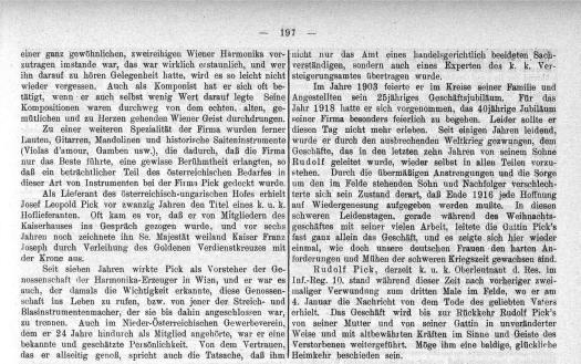 Nachruf auf Josef Leopold Pick (Aus: Zeitschrift für Instrumentenbau, S. 197, 1. April 1917)
